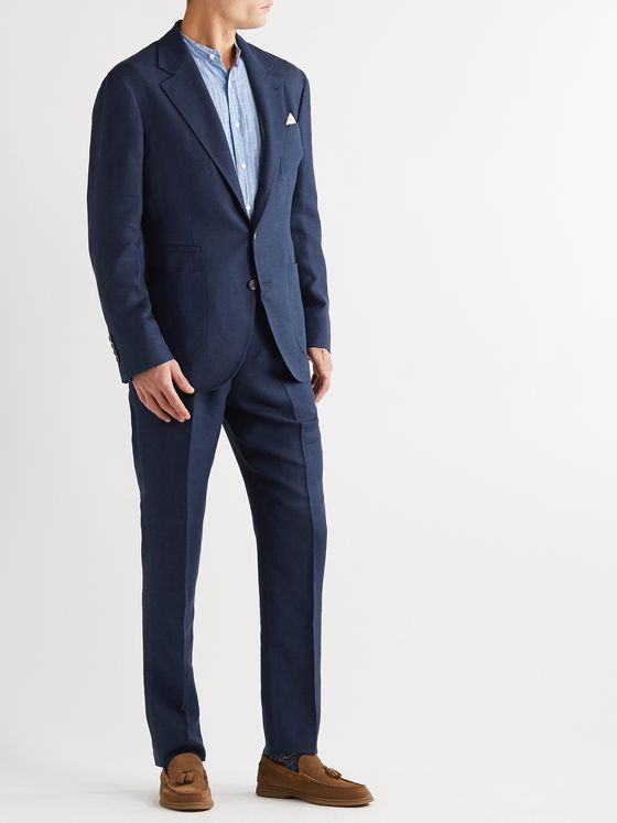 BRUNELLO CUCINELLI Unstructured Linen, Wool and Silk-Blend Hopsack Suit Jacket