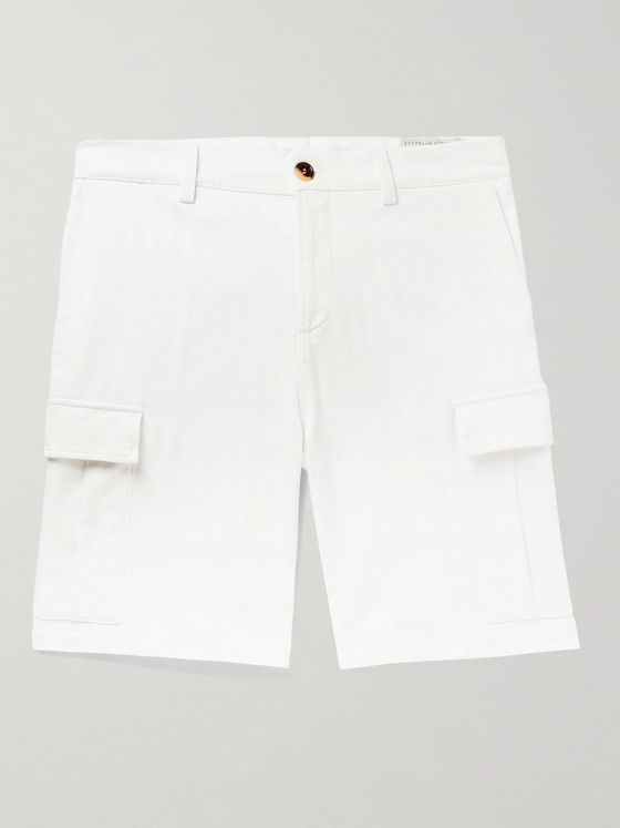 BRUNELLO CUCINELLI Herringbone Stretch-Cotton Cargo Shorts