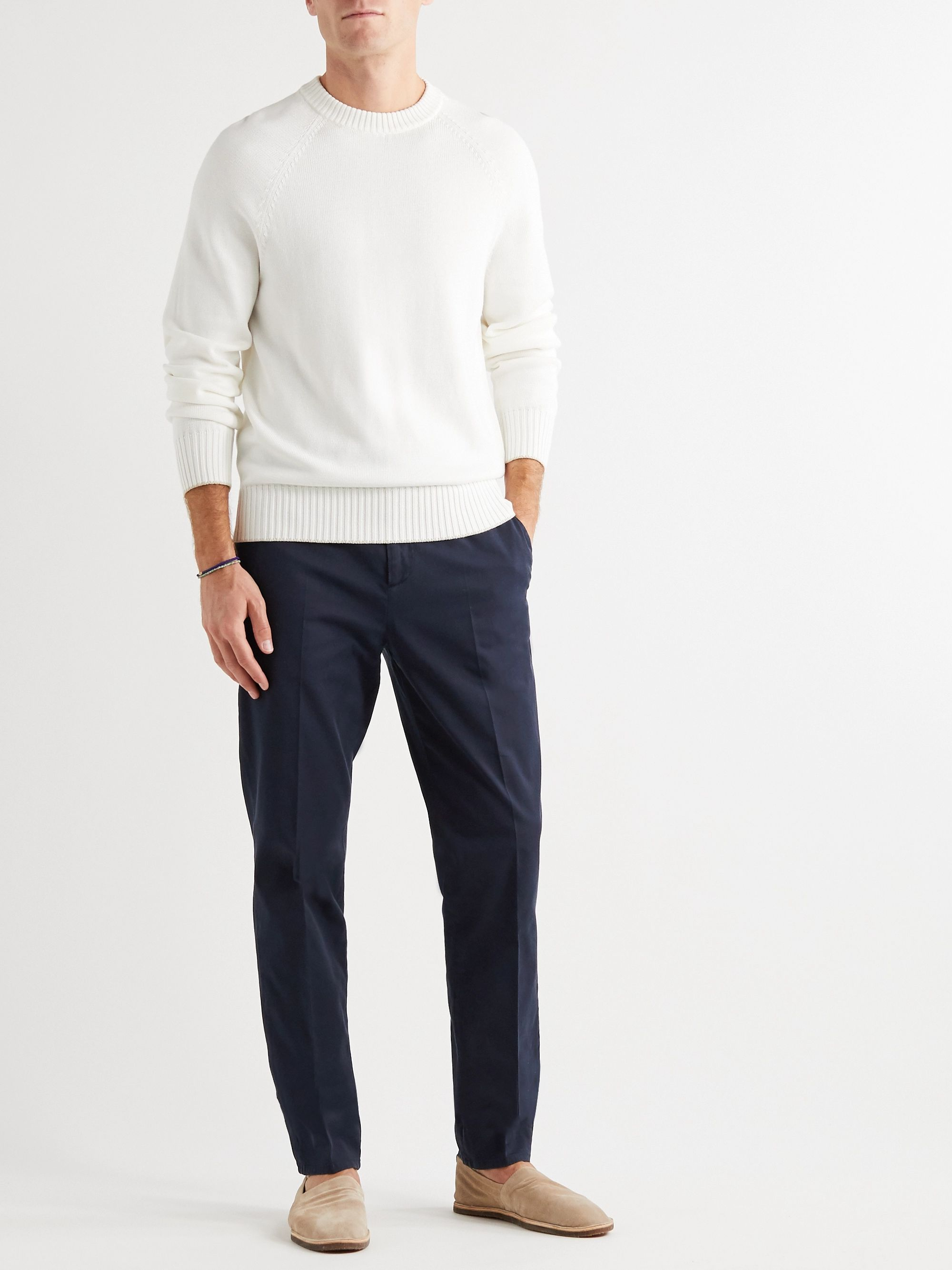 Brunello Cucinelli Garment-Dyed Stretch Cotton-Twill Trousers