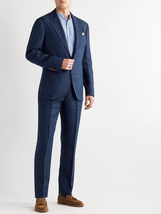 Brunello Cucinelli Slim-Fit Tapered Pleated Linen, Wool and Silk-Blend Hopsack Suit Trousers