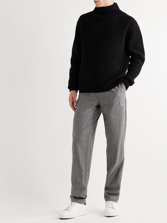 RICHARD JAMES Tapered Puppytooth Wool-Flannel Drawstring Trousers