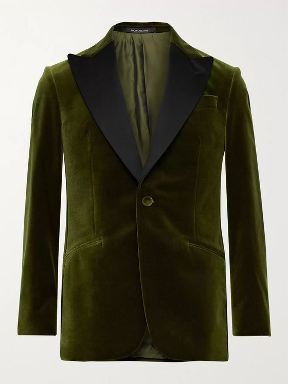 RICHARD JAMES Slim-Fit Satin-Trimmed Cotton-Velvet Tuxedo Jacket