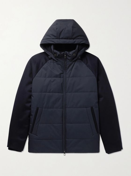 LORO PIANA Cashmere-Trimmed Quilted Softshell Hooded Jacket