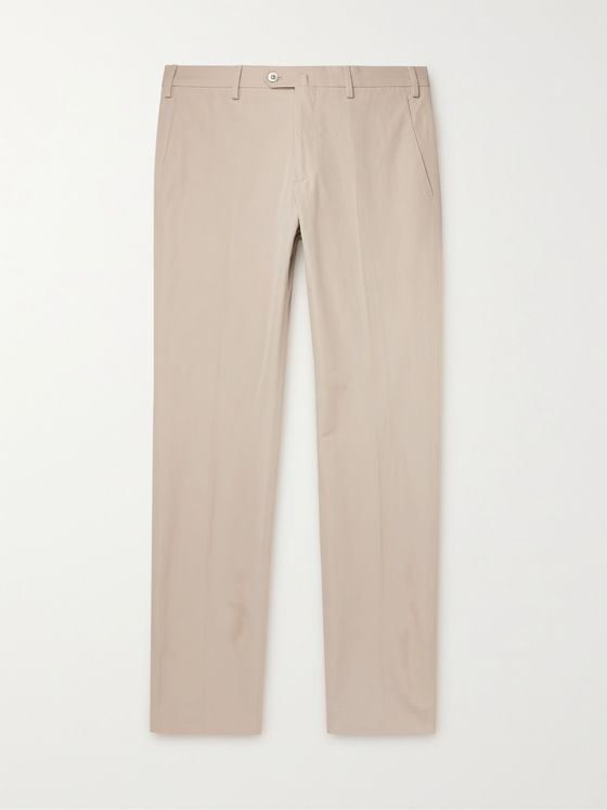 LORO PIANA Slim-Fit Cotton-Blend Poplin Trousers