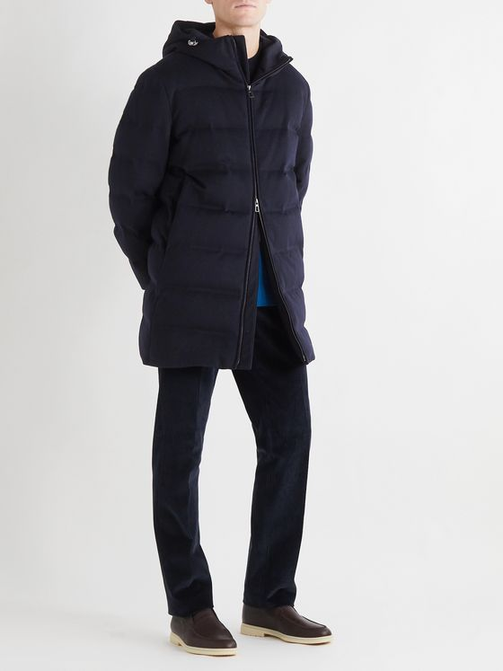 LORO PIANA C.O.L.D. Quilted Cashmere Hooded Down Jacket