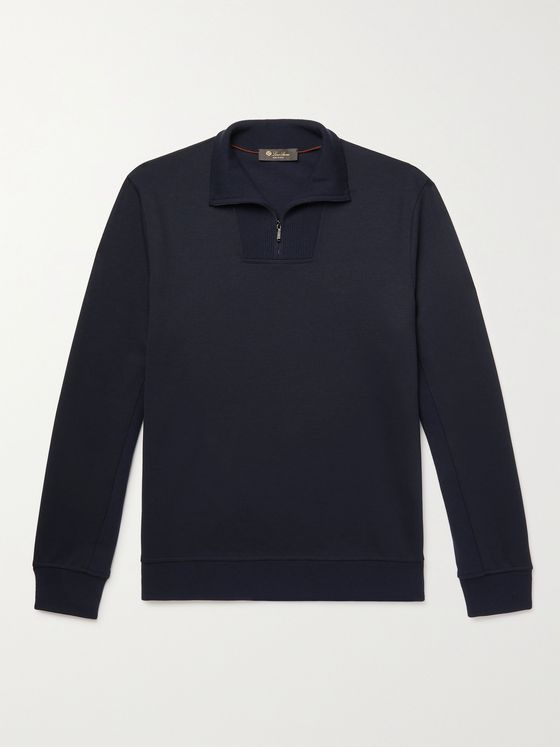 LORO PIANA Virgin Wool-Blend Half-Zip Sweater