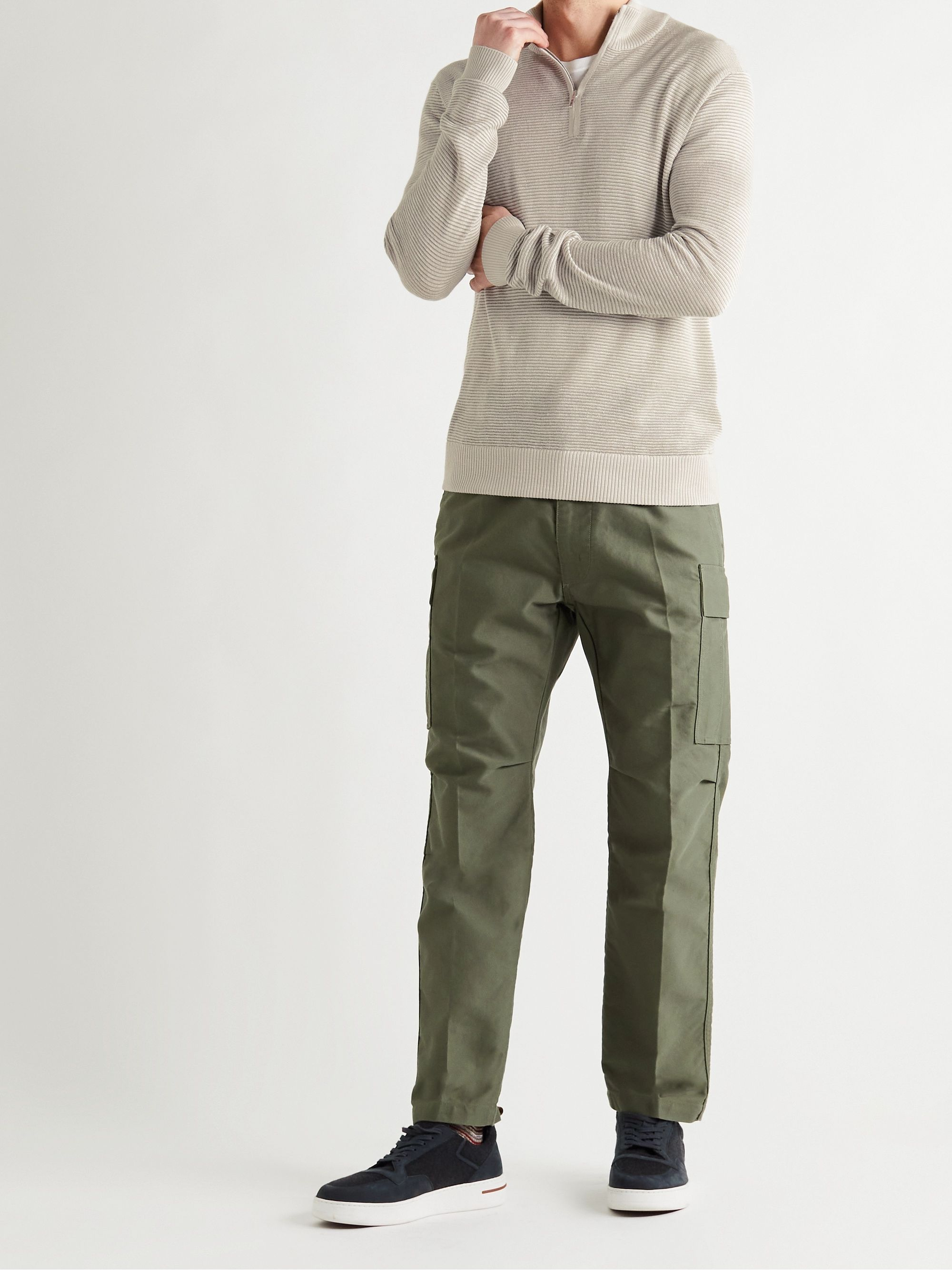 LORO PIANA Slim-Fit Ribbed Silk, Cashmere and Linen-Blend Half-Zip Sweater