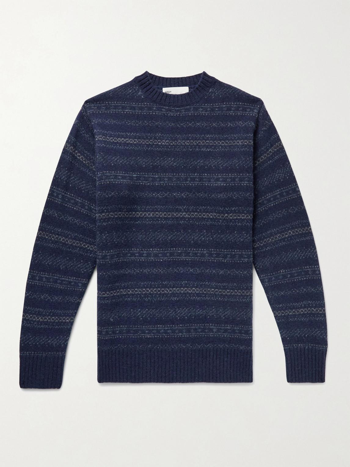 Adsum Nordic Wool-jacquard Sweater In Blue