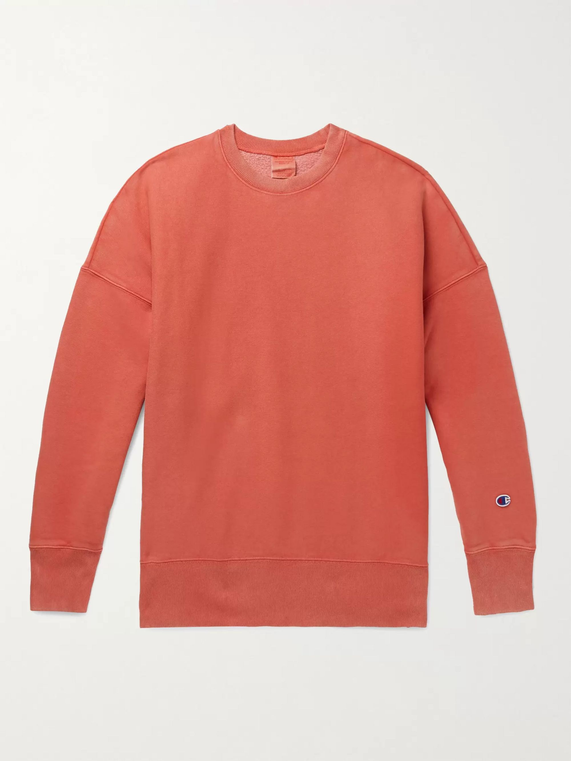 CHAMPION Logo-Appliqued Fleece-Back Cotton-Blend Jersey Sweatshirt