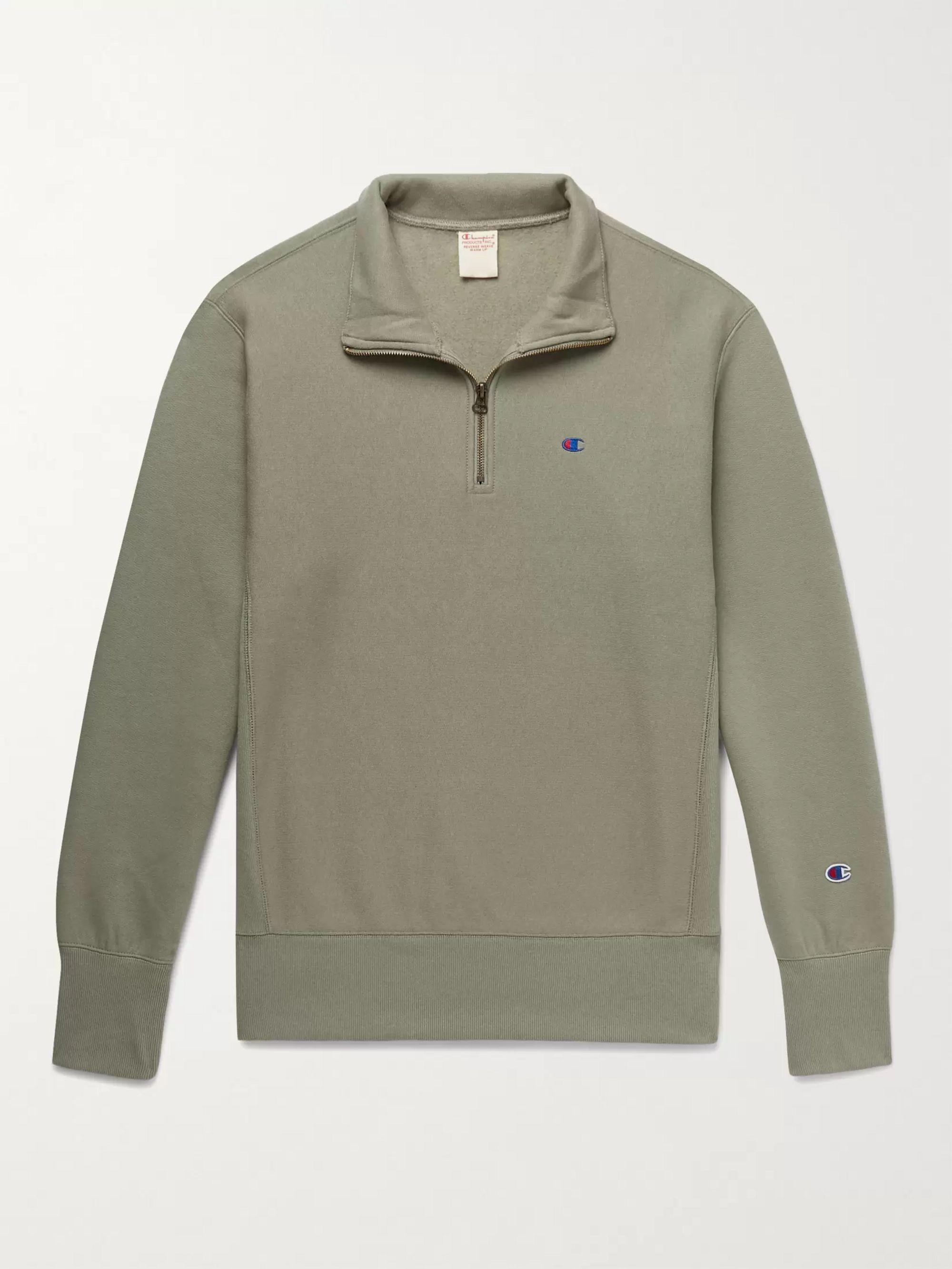 CHAMPION Logo-Embroidered Fleece-Back Cotton-Blend Jersey Half-Zip Sweatshirt