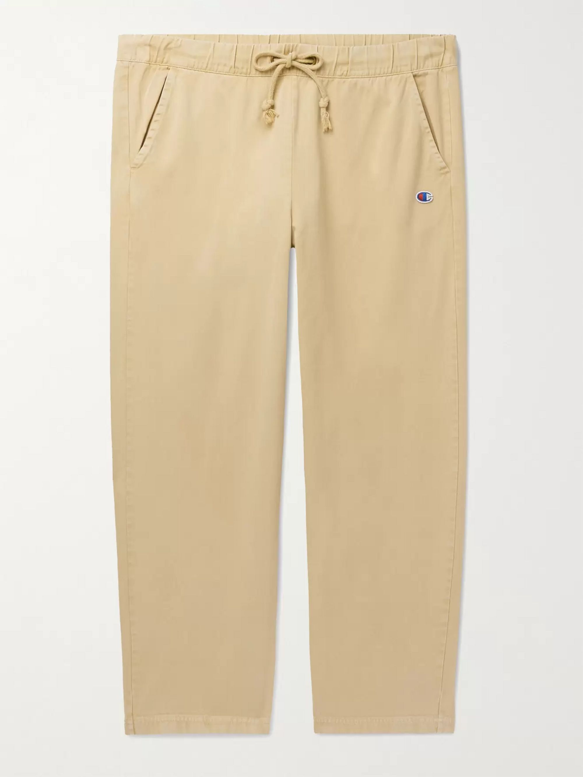 CHAMPION Cropped Logo-Appliqued Cotton-Twill Drawstring Trousers