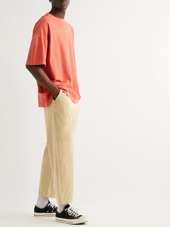 Champion Cropped Logo-Appliquéd Cotton-Twill Drawstring Trousers