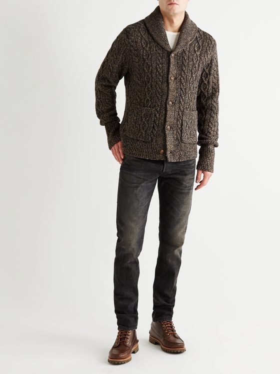 RRL Shawl-Collar Wool, Cotton and Linen-Blend Cardigan