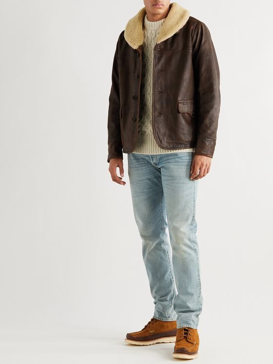 RRL Palmer Shearling-Trimmed Distressed Leather Jacket