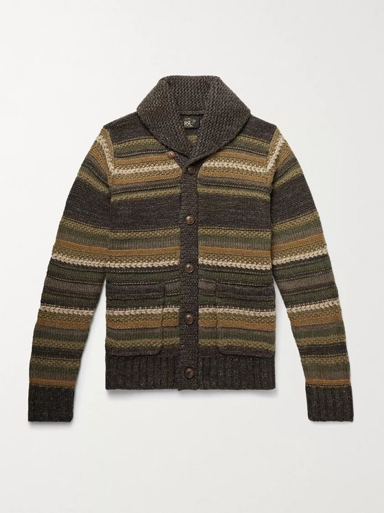 RRL Slim-Fit Shawl-Collar Striped Wool, Linen and Silk-Blend Cardigan