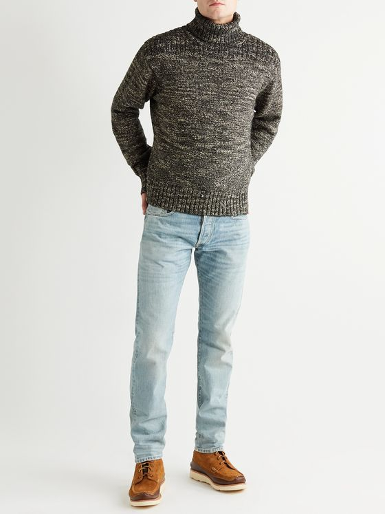 RRL Cotton, Wool and Linen-Blend Rollneck Sweater