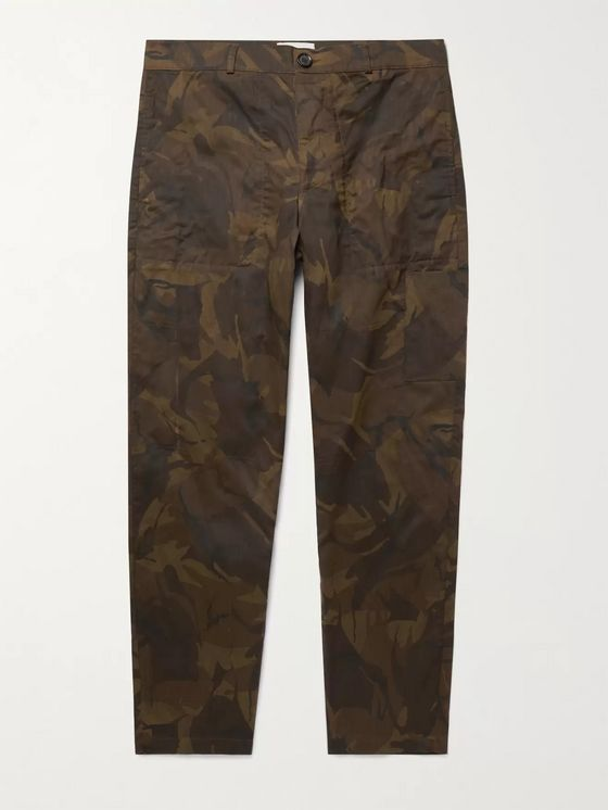 OLIVER SPENCER Judo Tapered Camouflage-Print Herringbone Cotton-Twill Cargo Trousers