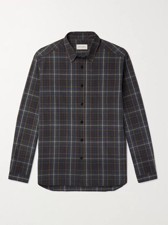 OLIVER SPENCER Aldred Checked Brushed Cotton-Flannel Shirt