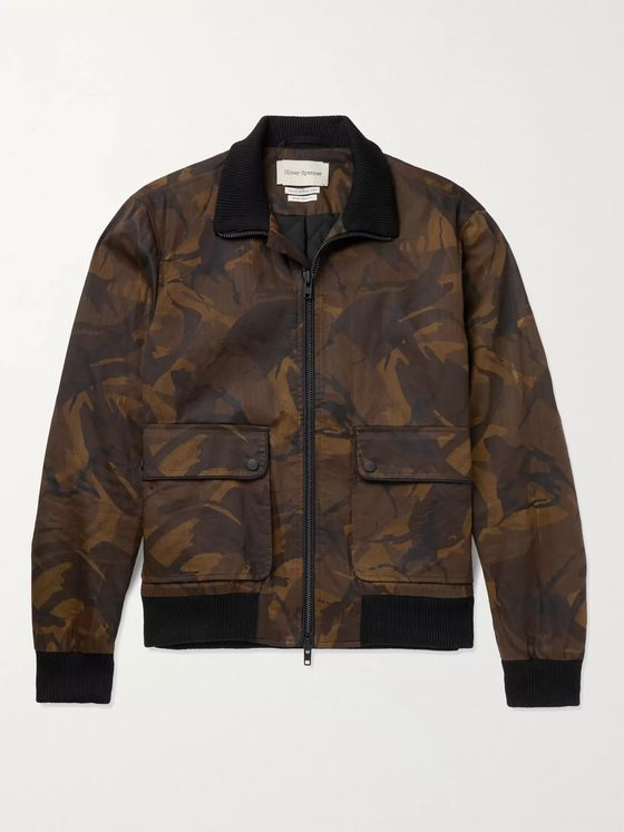OLIVER SPENCER Camouflage-Print Herringbone Cotton-Twill Bomber Jacket