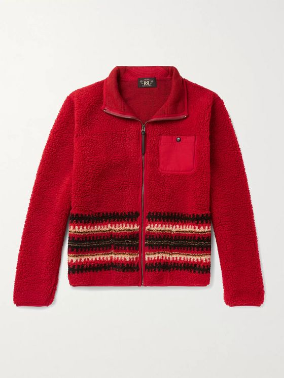 RRL Canvas-Trimmed Intarsia Fleece Jacket