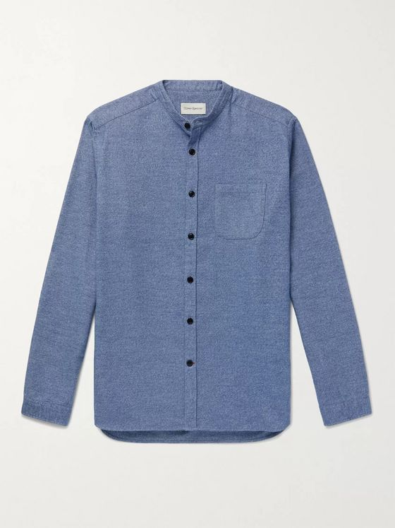 OLIVER SPENCER Rutherford Grandad-Collar Mélange Cotton Shirt