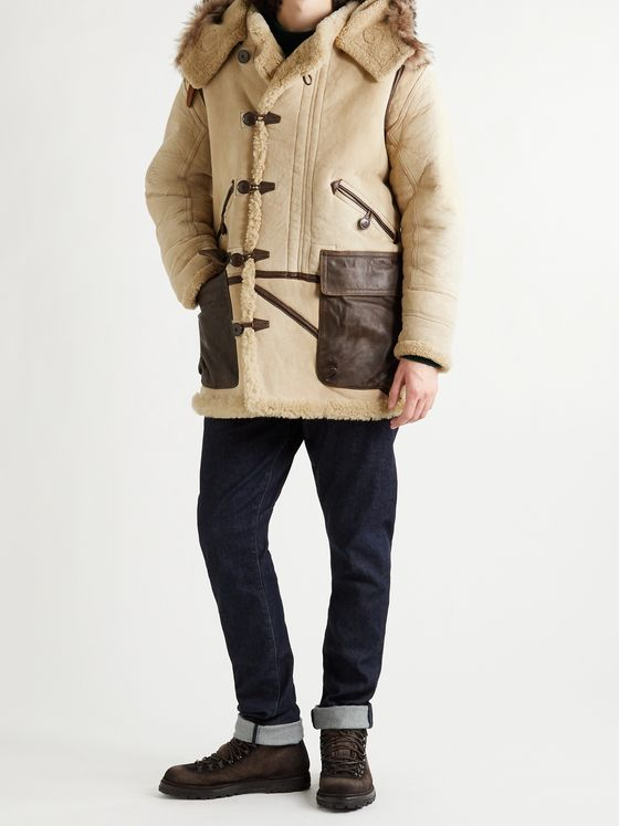 RRL Deering Leather-Trimmed Shearling Hooded Parka
