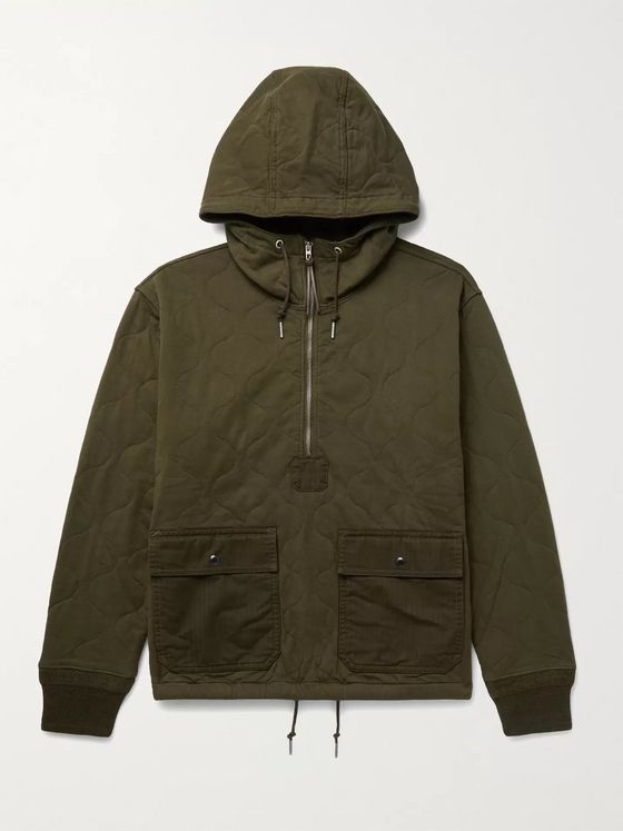 RRL Quilted Cotton-Twill Hooded Half-Zip Jacket