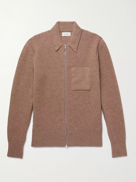 OLIVER SPENCER Tilson Ribbed Wool Zip-Up Cardigan