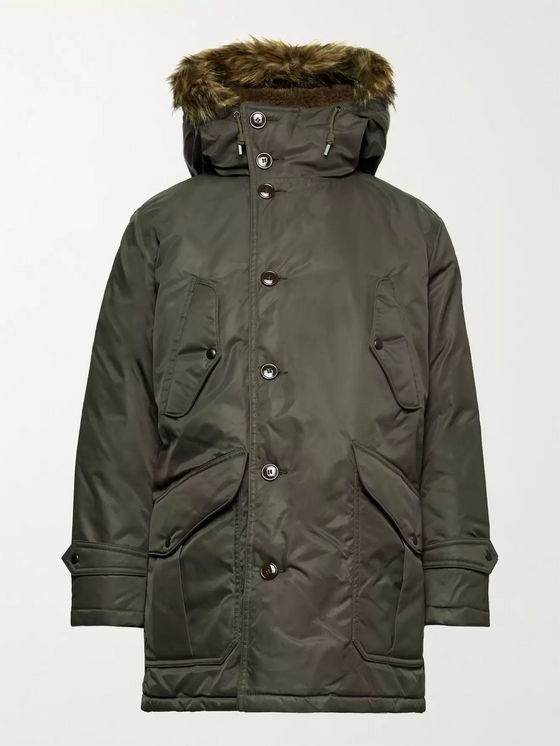RRL Kodiak Arctic Faux Fur-Trimmed Padded Shell Hooded Jacket