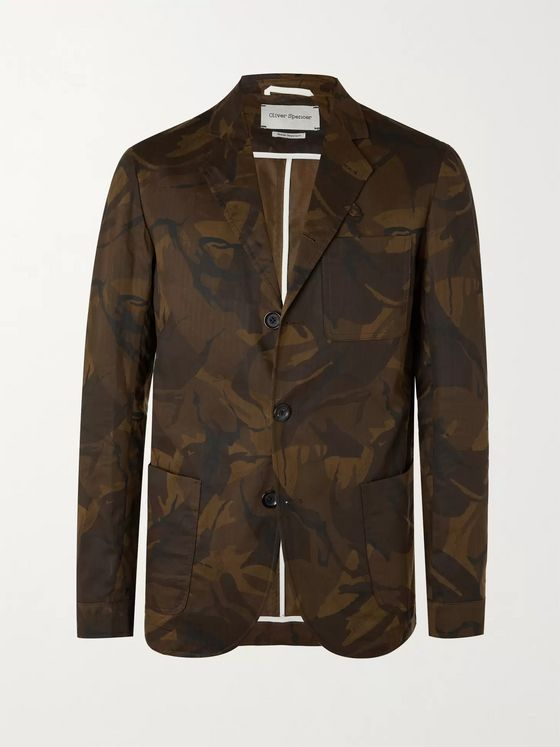 OLIVER SPENCER Unstructured Camouflage-Print Cotton Blazer