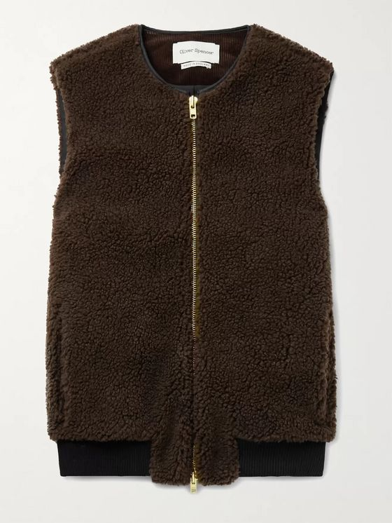 OLIVER SPENCER Huston Corduroy-Trimmed Fleece Gilet