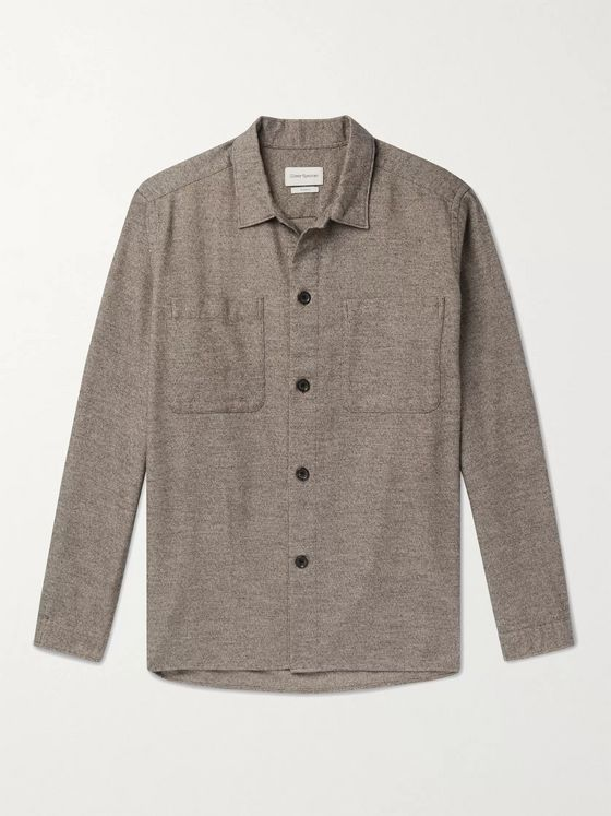 OLIVER SPENCER Eltham Mélange Brushed Organic Cotton-Flannel Overshirt