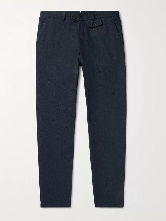 OLIVER SPENCER Saunders Cotton and Wool-Blend Jacquard Trousers