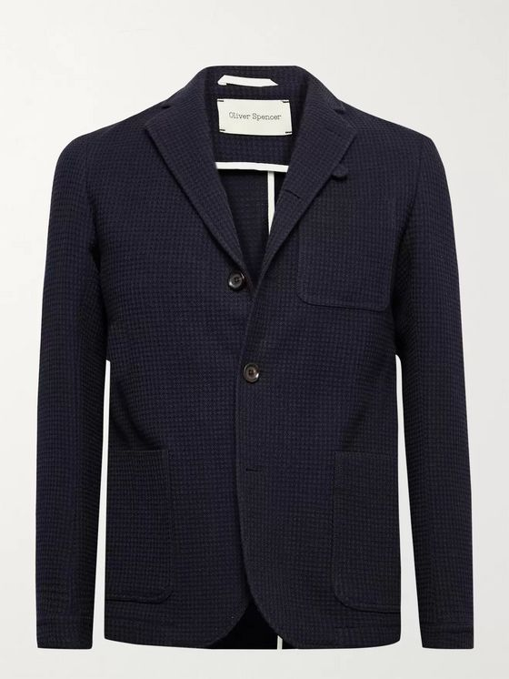 OLIVER SPENCER Solms Wool and Cotton-Blend Jacquard Blazer