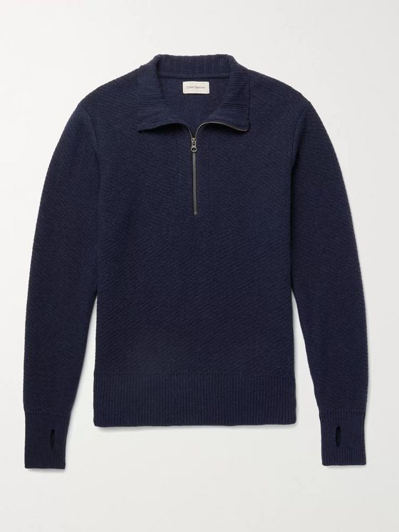 OLIVER SPENCER Carew Ribbed Wool Half-Zip Sweater