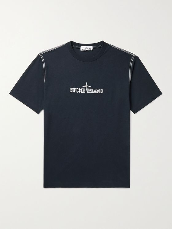 STONE ISLAND Logo-Embroidered Cotton-Jersey T-Shirt