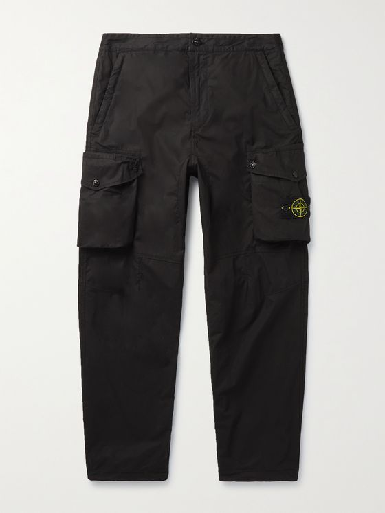 STONE ISLAND Tapered Logo-Appliquéd Cotton-Blend Cargo Trousers
