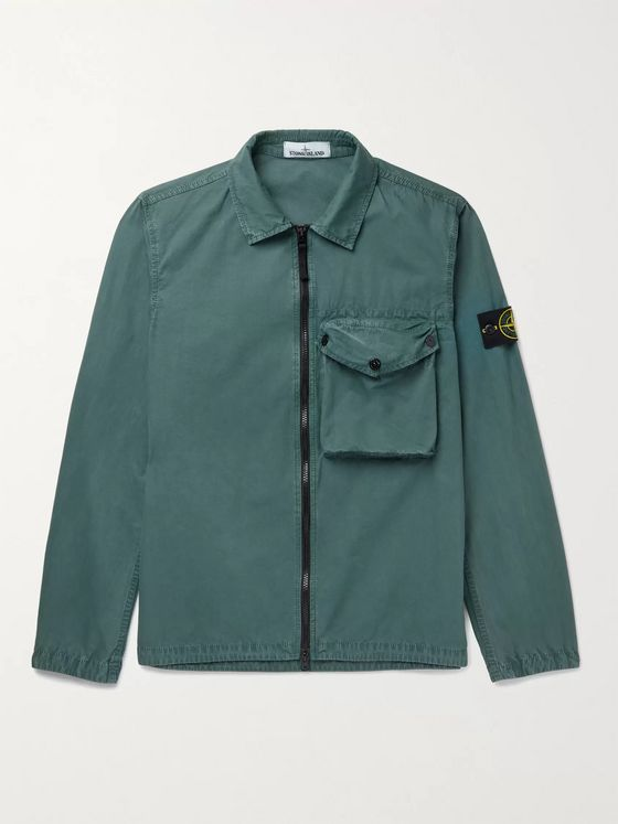 STONE ISLAND Logo-Appliquéd Brushed Cotton-Canvas Jacket