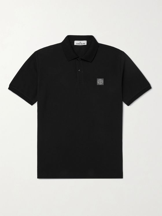 STONE ISLAND Slim-Fit Logo-Appliquéd Cotton-Piqué Polo Shirt