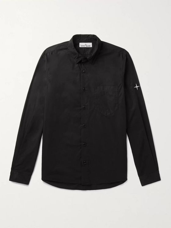 STONE ISLAND Button-Down Collar Logo-Embroidered Cotton Shirt