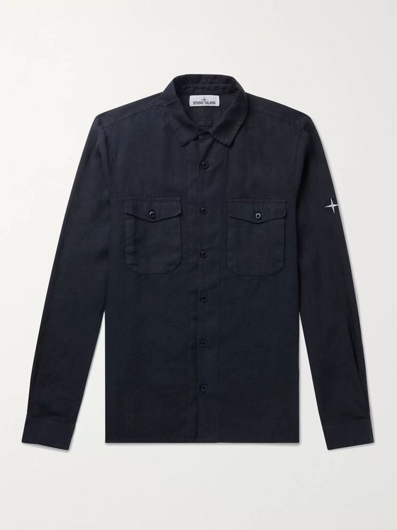 STONE ISLAND Logo-Embroidered Linen Shirt
