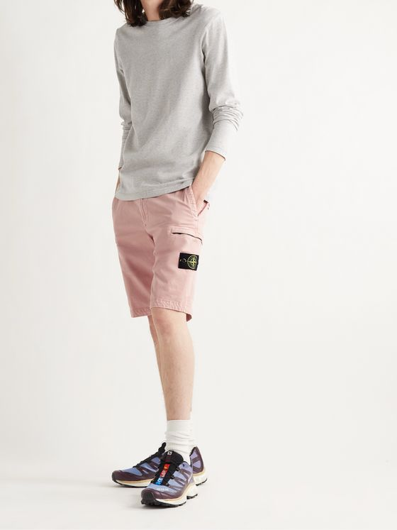 STONE ISLAND Slim-Fit Logo-Appliquéd Brushed Cotton-Blend Twill Cargo Shorts