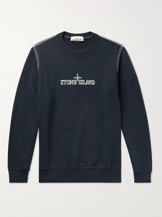 STONE ISLAND Logo-Embroidered Loopback Cotton-Jersey Sweatshirt