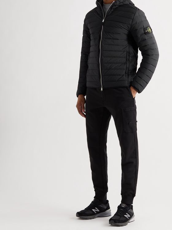 STONE ISLAND Logo-Appliquéd Quilted Shell Down Hooded Jacket
