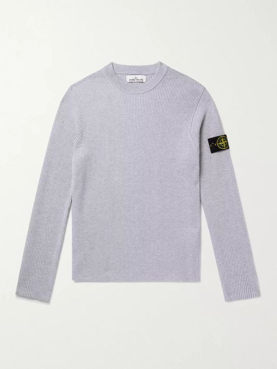 STONE ISLAND Logo-Appliquéd Ribbed Cotton Sweater