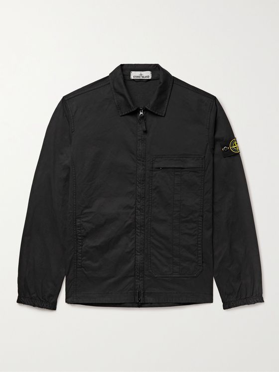 STONE ISLAND Logo-Appliquéd Cotton-Blend Twill Jacket