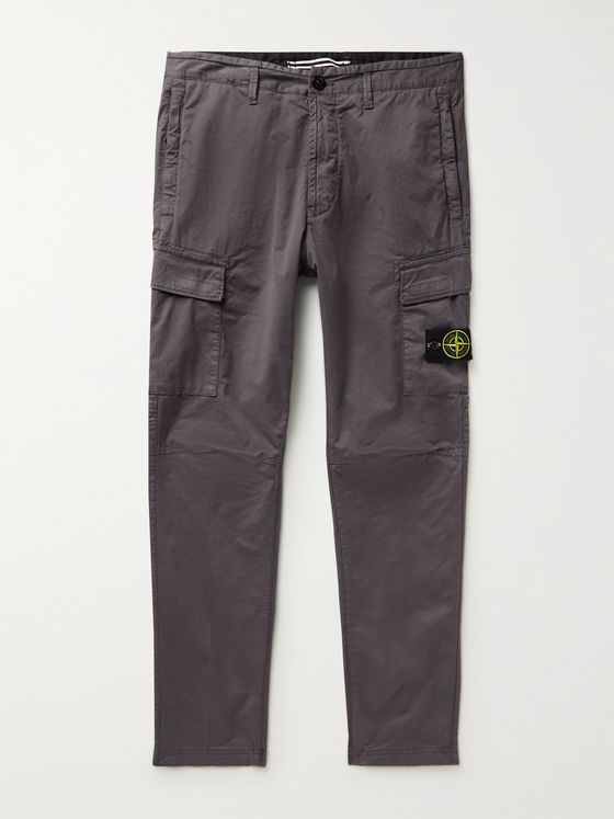 STONE ISLAND Logo-Appliquéd Brushed Cotton-Blend Cargo Trousers