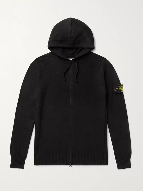 STONE ISLAND Logo-Appliquéd Cotton-Blend Zip-Up Hoodie
