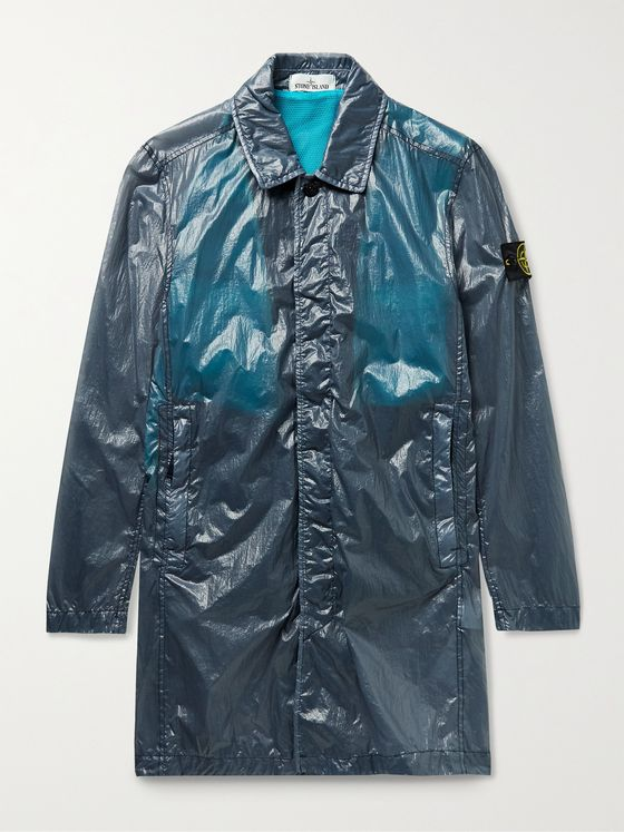STONE ISLAND Packable Garment-Dyed Lucido-TC Trench Coat with Detachable Mesh Gilet