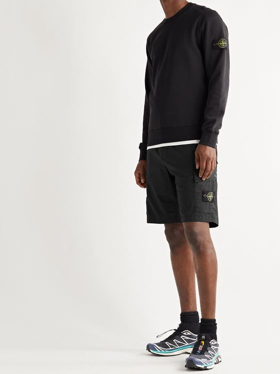 STONE ISLAND Logo-Appliquéd Garment-Dyed Stretch-Cotton Cargo Shorts